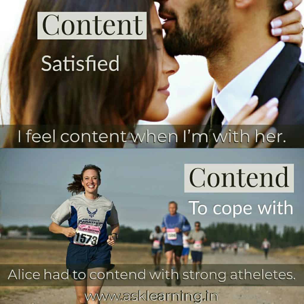 The difference between Content and Contend, and their correct usage. image