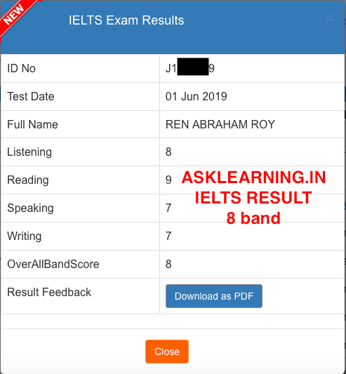 Asklearing.in IELTS result