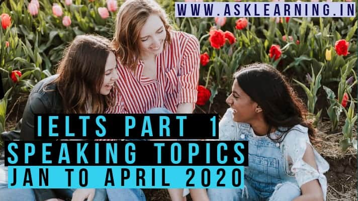 IELTS Part 1 Speaking Topics for January to April 2020